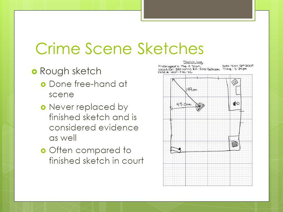 Crime Scene Sketches Rough sketch Done free-hand at scene