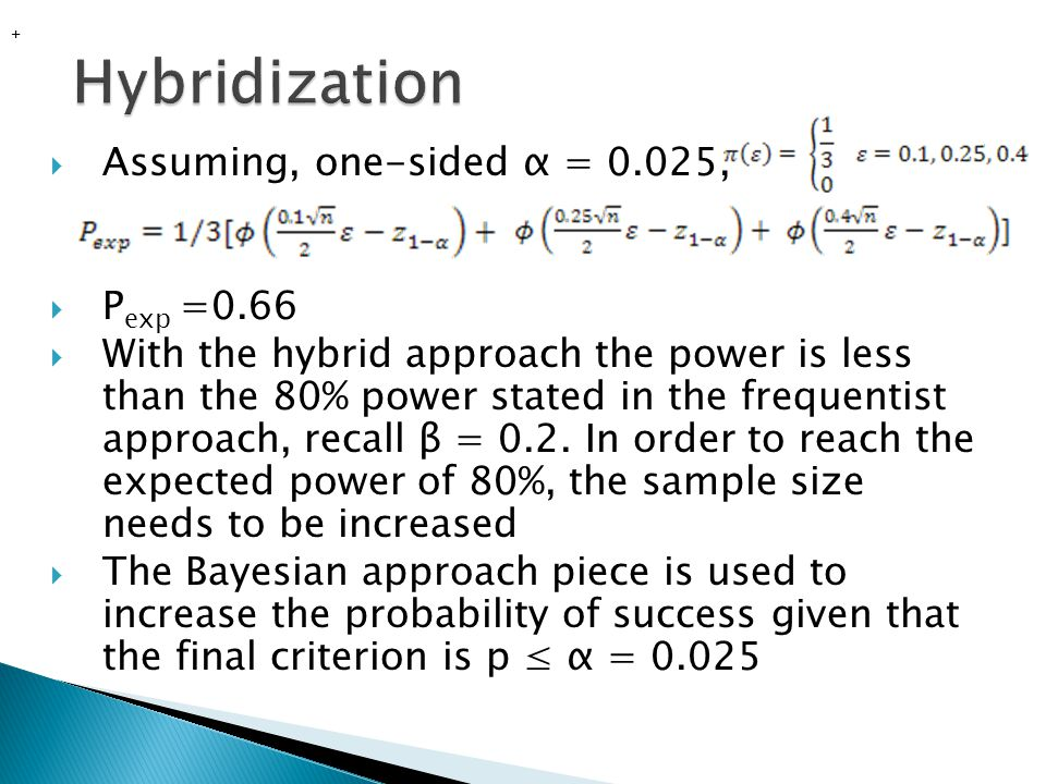 Hybridization Assuming, one-sided α = 0.025, Pexp =0.66