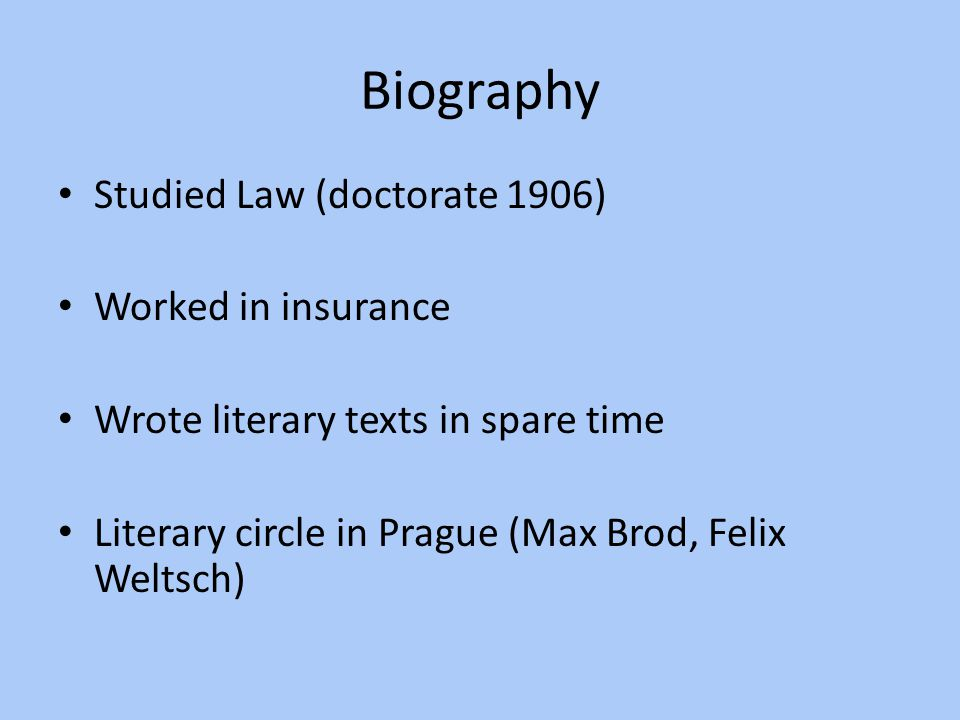 Biography Studied Law (doctorate 1906) Worked in insurance