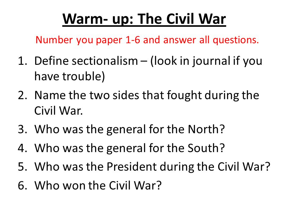 Civil war essay questions