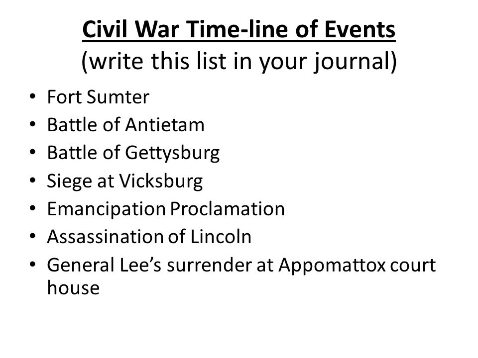 Civil War Time-line of Events (write this list in your journal)