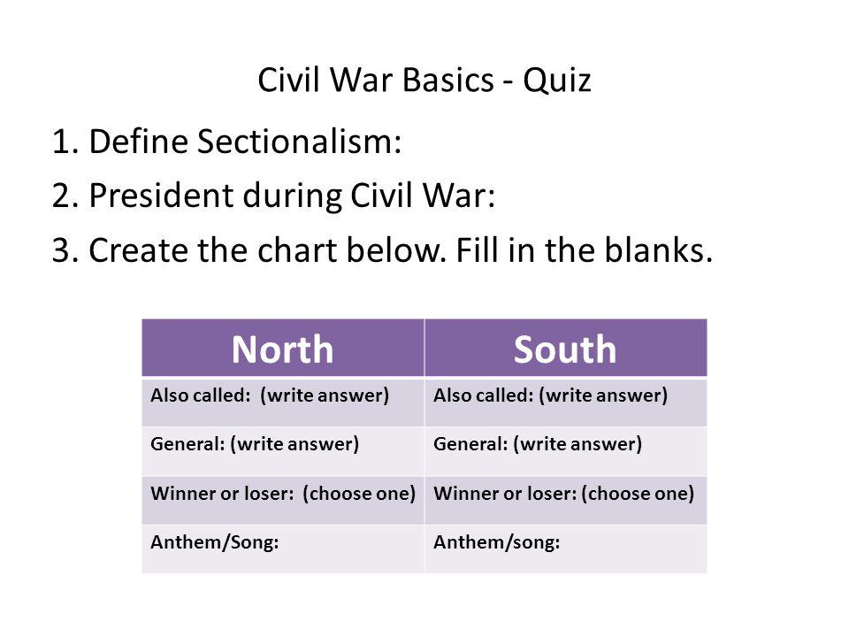 North South Civil War Basics - Quiz