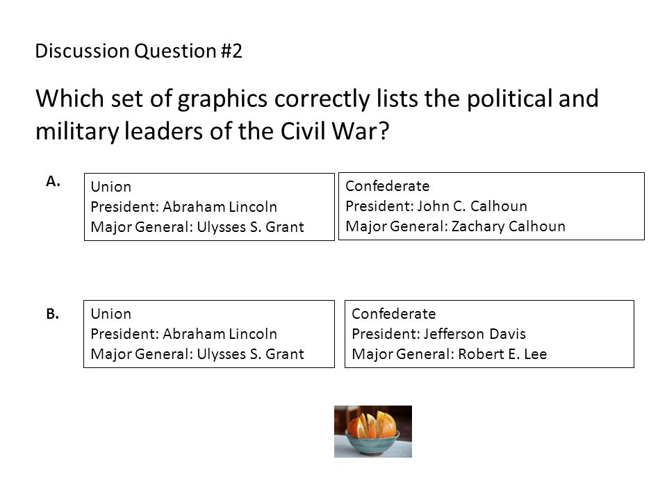 Discussion Question #2 Which set of graphics correctly lists the political and military leaders of the Civil War