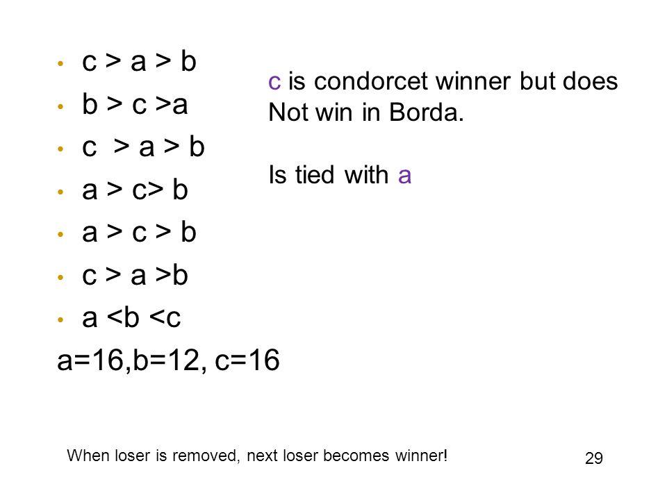 c > a > b b > c >a c > a > b a > c> b