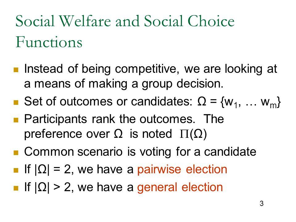 Social Welfare and Social Choice Functions