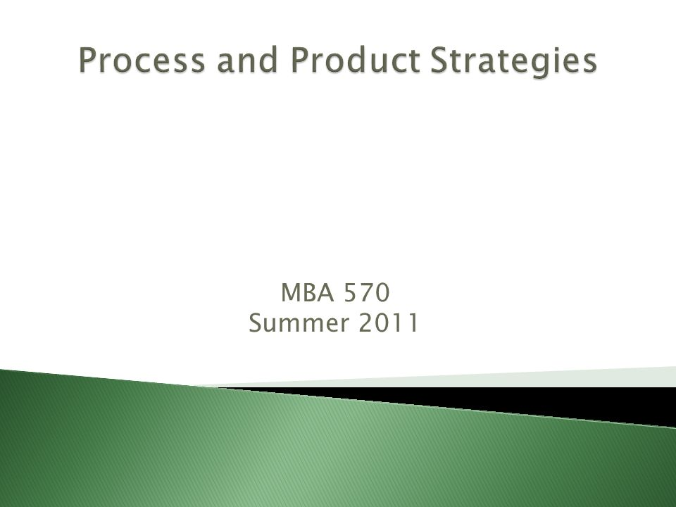 Process and Product Strategies