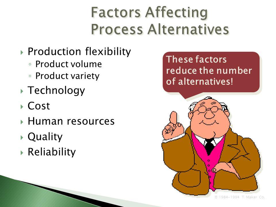 Factors Affecting Process Alternatives
