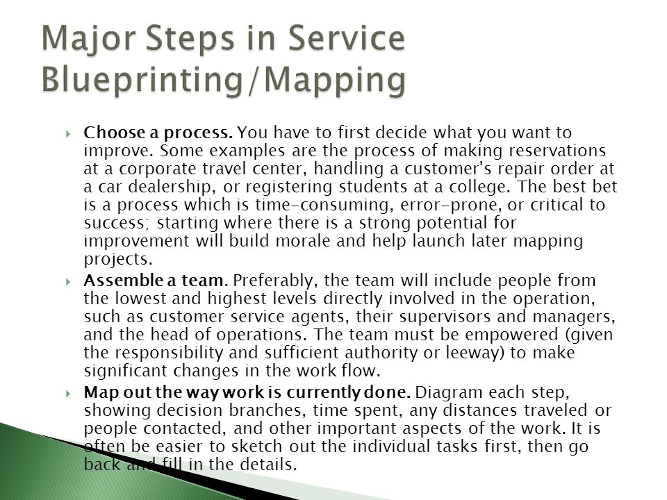 Process and product strategies ppt video online download major steps in service blueprintingmapping malvernweather Gallery