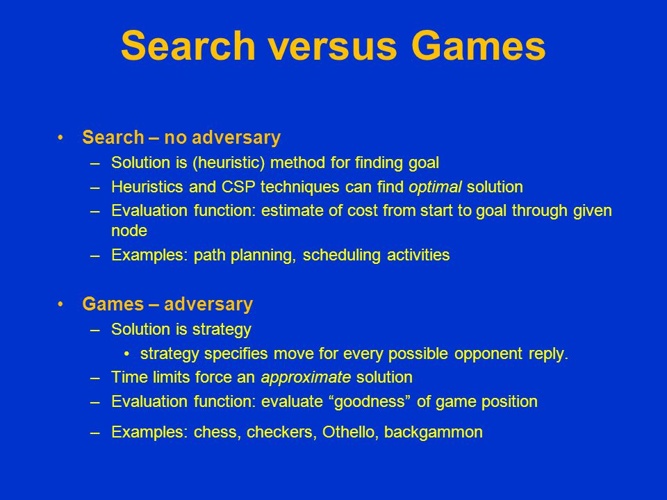 Search versus Games Search – no adversary Games – adversary