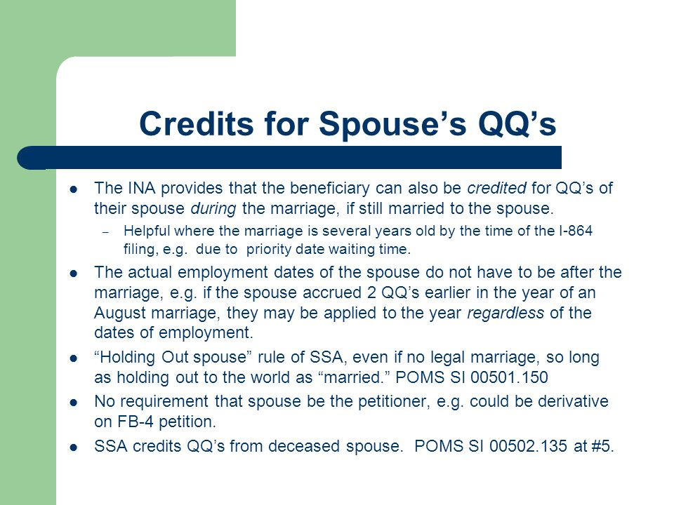 Credits for Spouse's QQ's