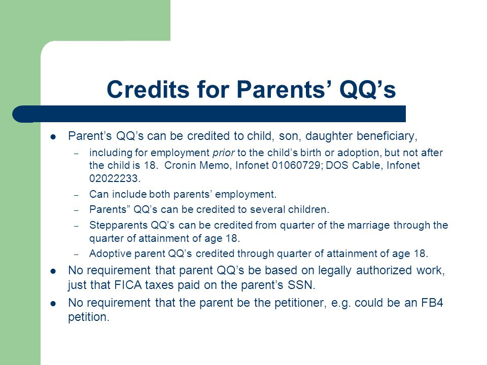 Credits for Parents' QQ's