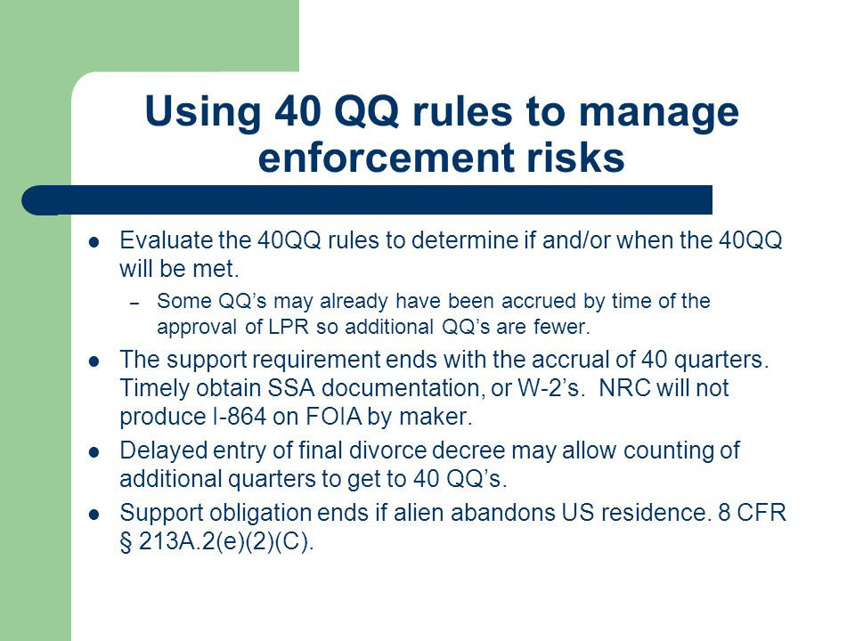 Using 40 QQ rules to manage enforcement risks