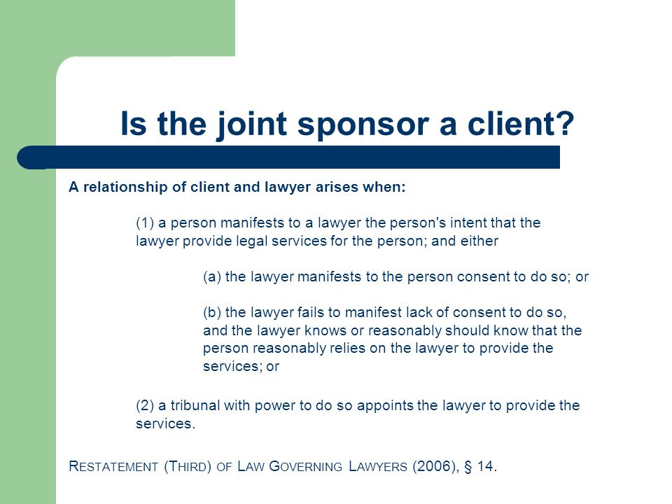 Is the joint sponsor a client