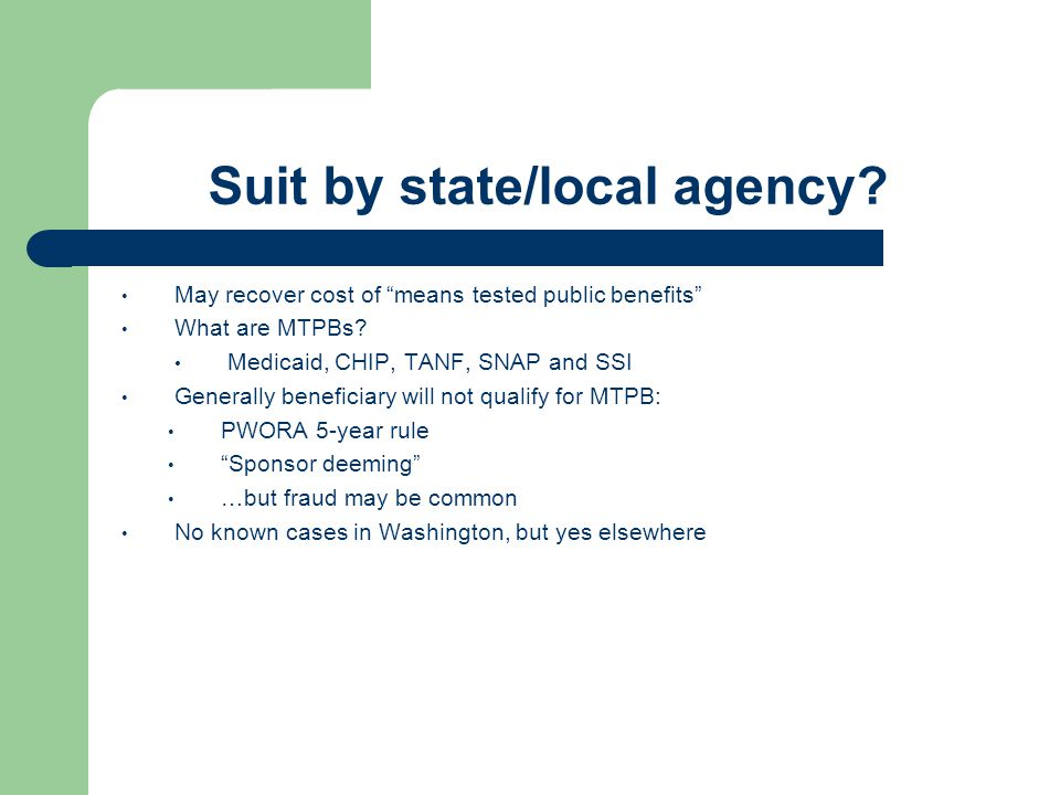 Suit by state/local agency