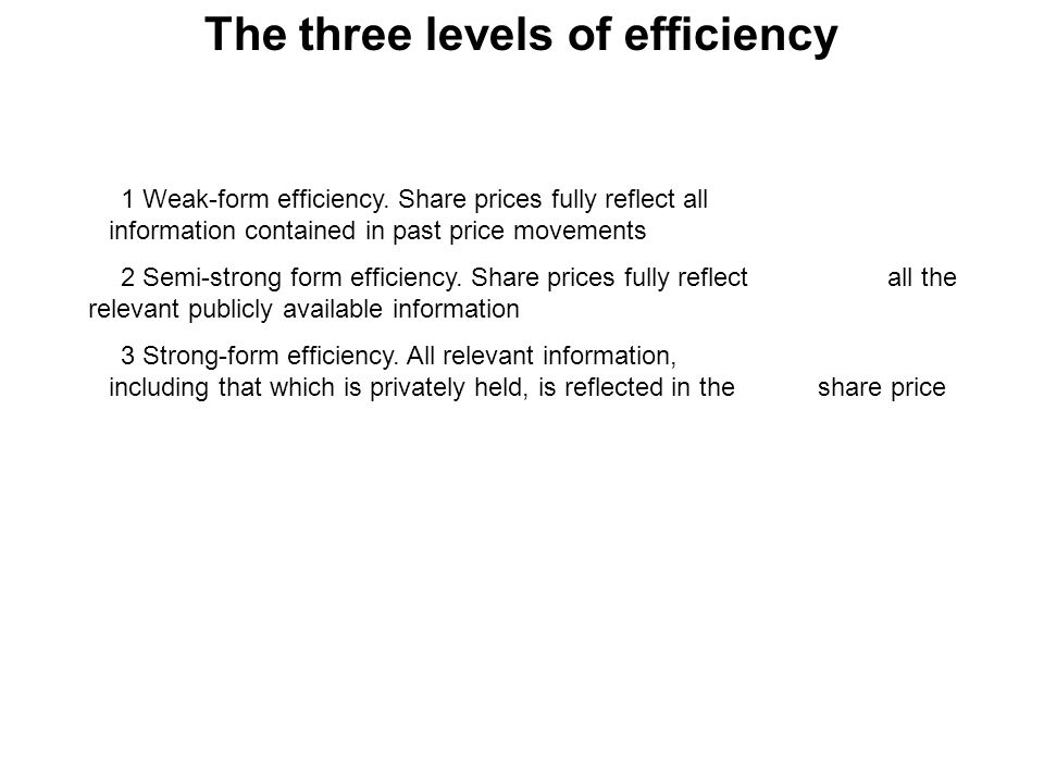 The three levels of efficiency