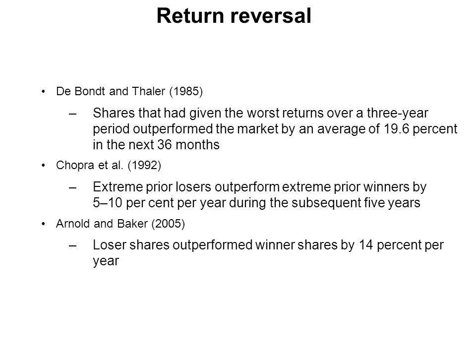 Return reversal De Bondt and Thaler (1985)
