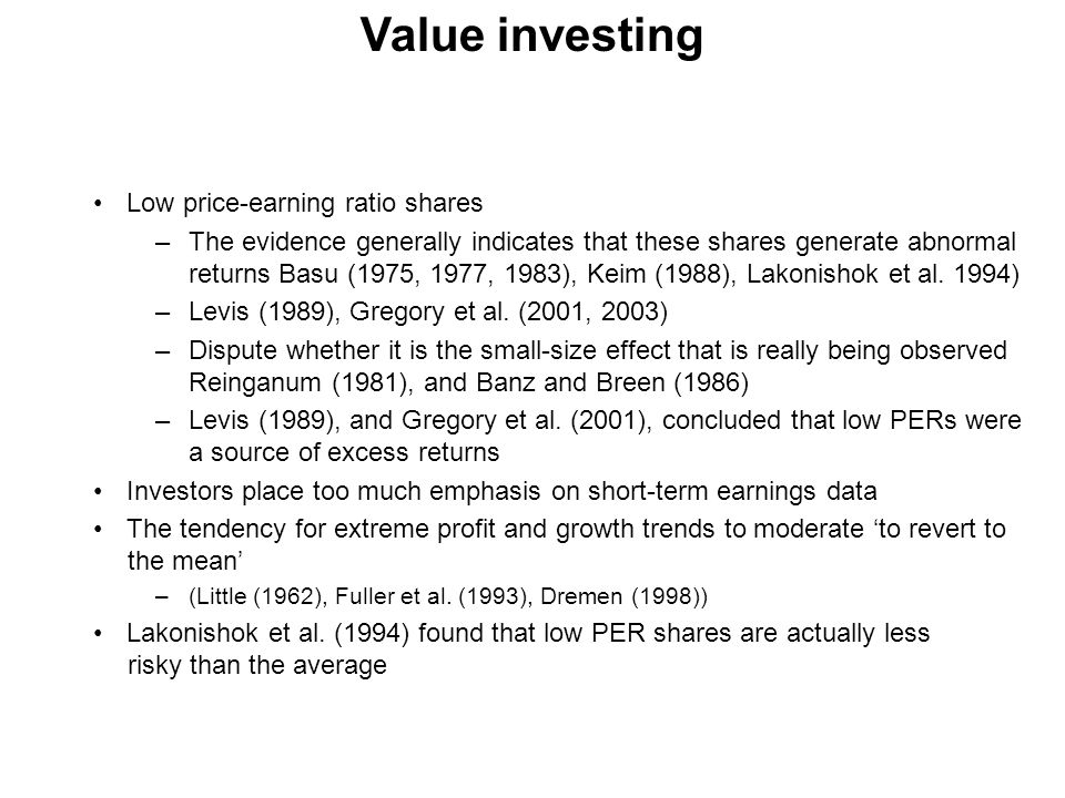 Value investing Low price-earning ratio shares