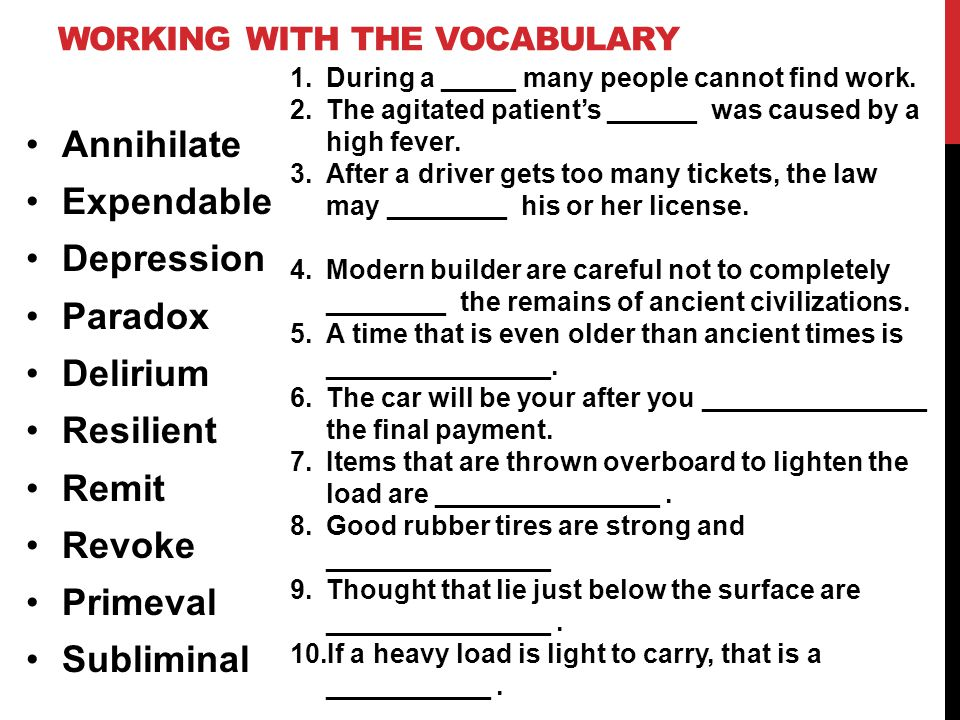 Working with the vocabulary