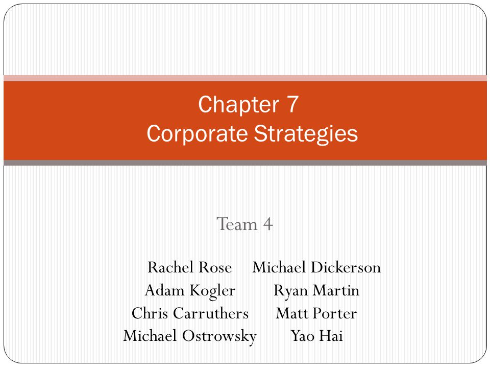Chapter 7 Corporate Strategies