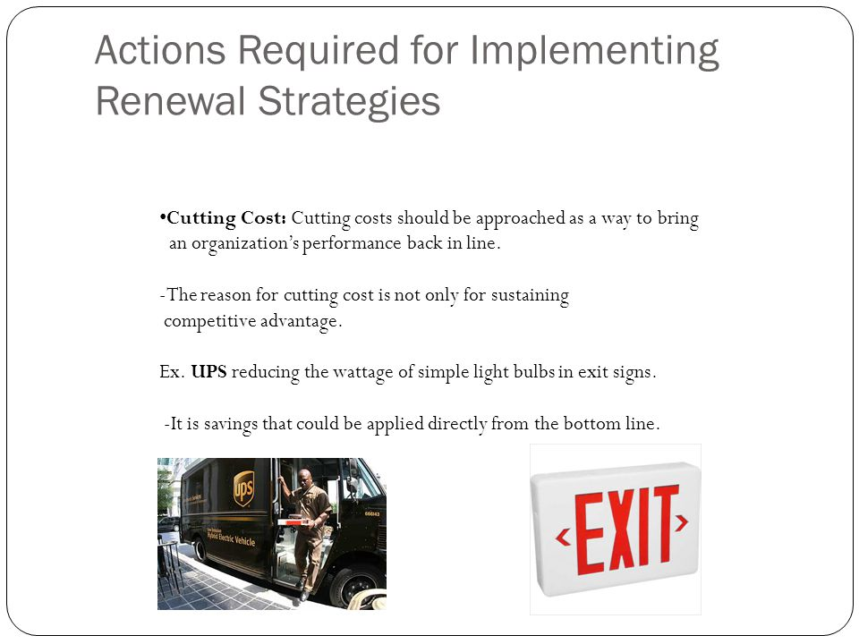 Actions Required for Implementing Renewal Strategies