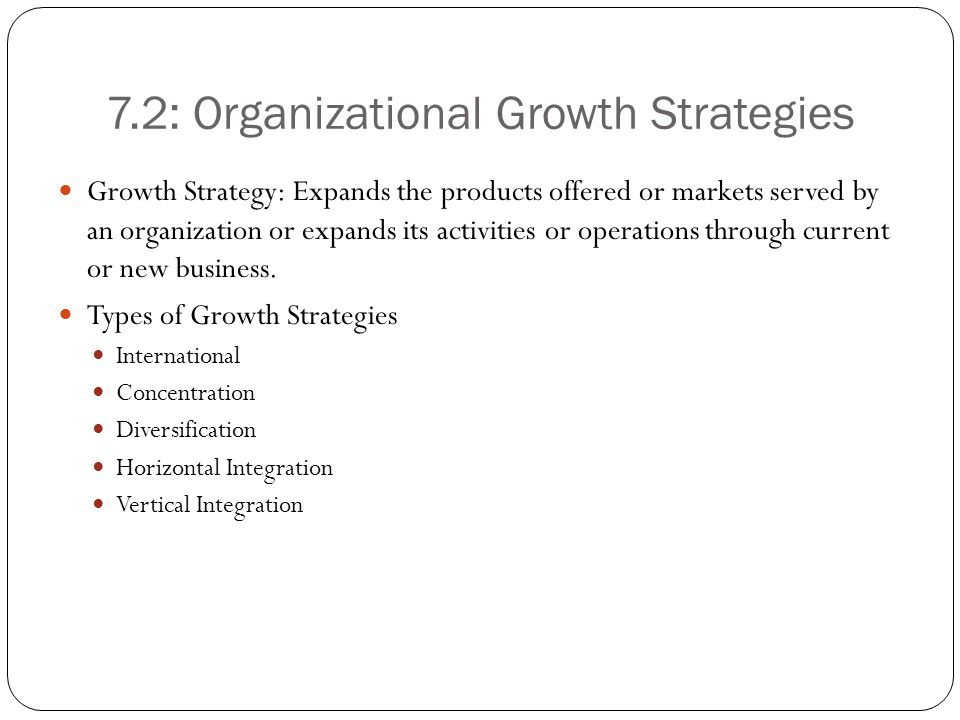 7.2: Organizational Growth Strategies