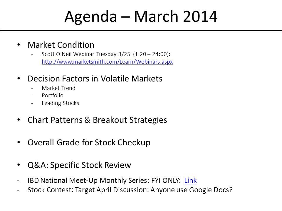Agenda – March 2014 Market Condition