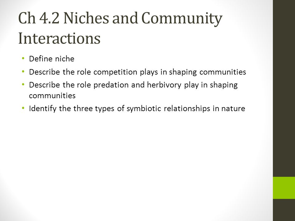 Ch 4.2 Niches and Community Interactions