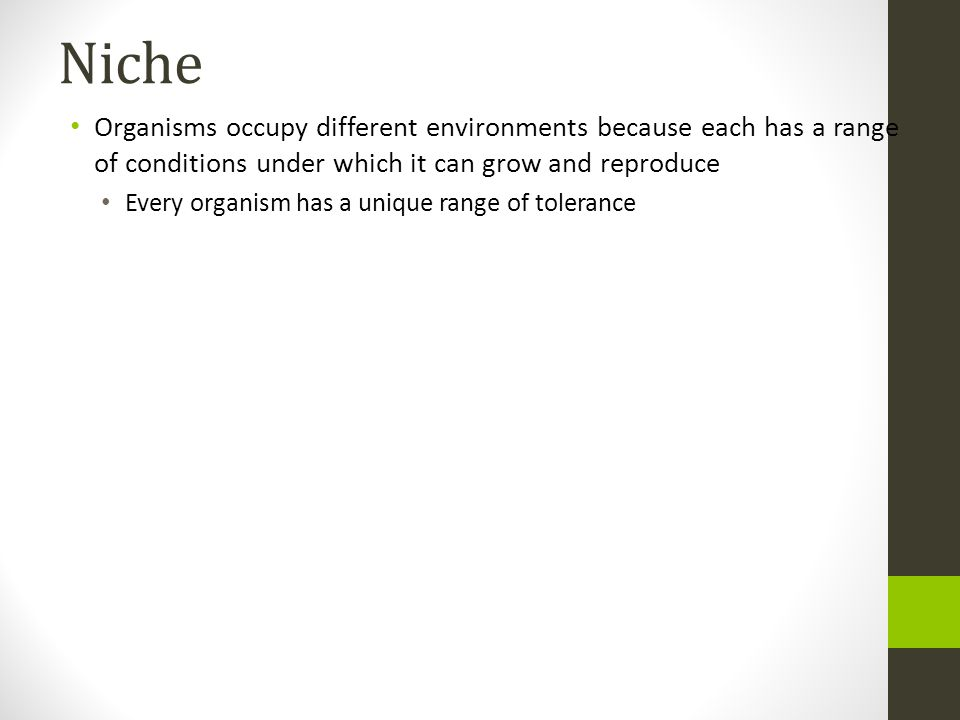 Niche Organisms occupy different environments because each has a range of conditions under which it can grow and reproduce.