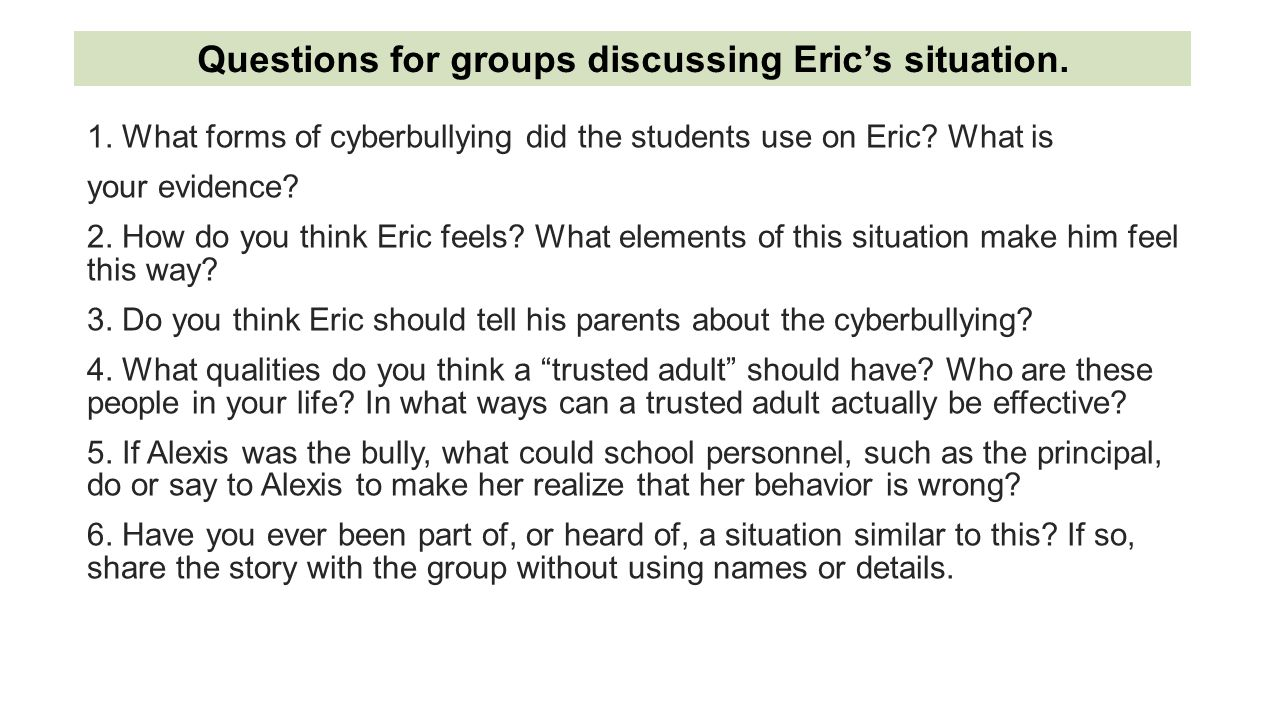 Questions for groups discussing Eric's situation.