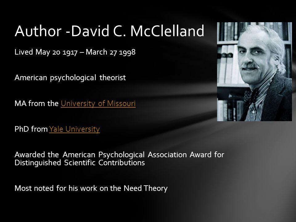 Author -David C. McClelland