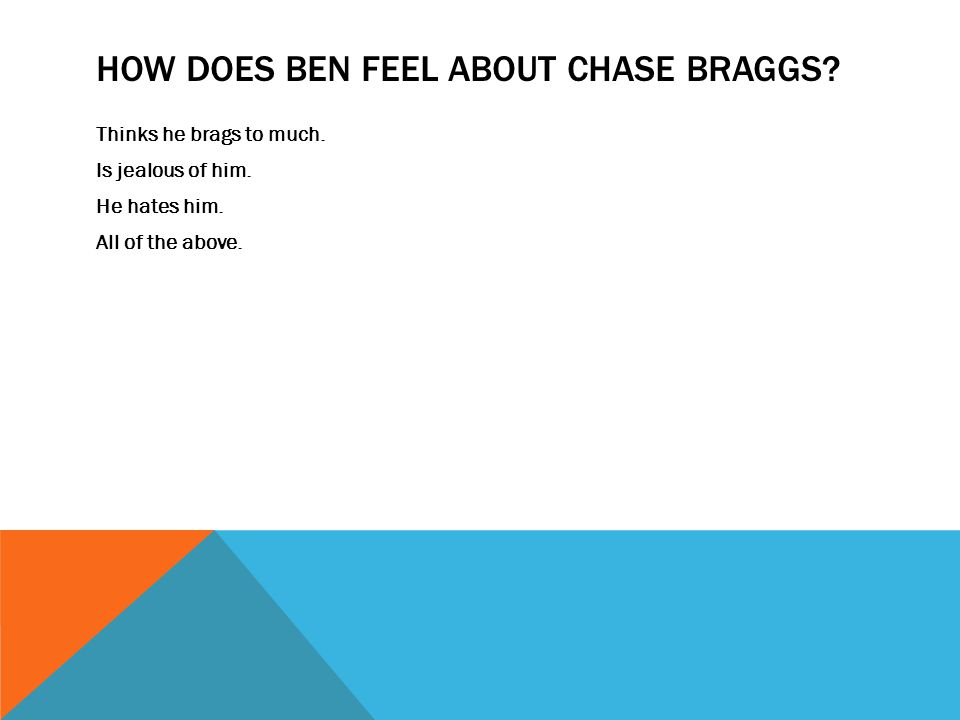 How does Ben feel about Chase Braggs