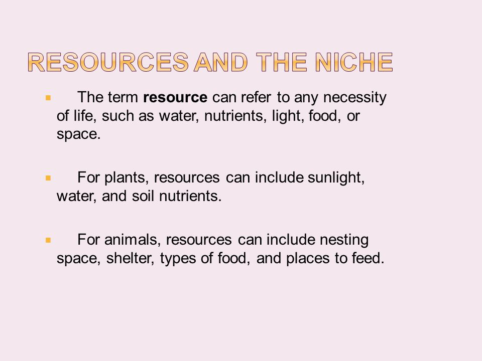 Resources and the Niche