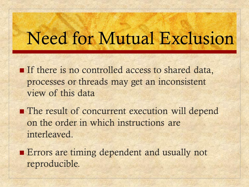 Need for Mutual Exclusion