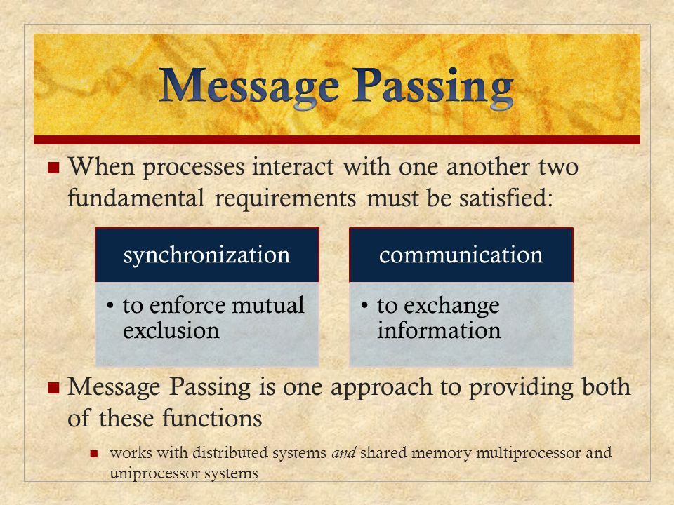 Message Passing When processes interact with one another two fundamental requirements must be satisfied: