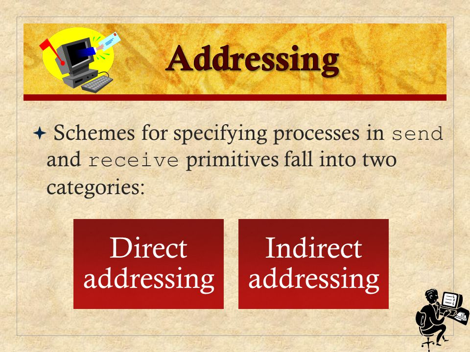 Addressing Direct addressing Indirect addressing