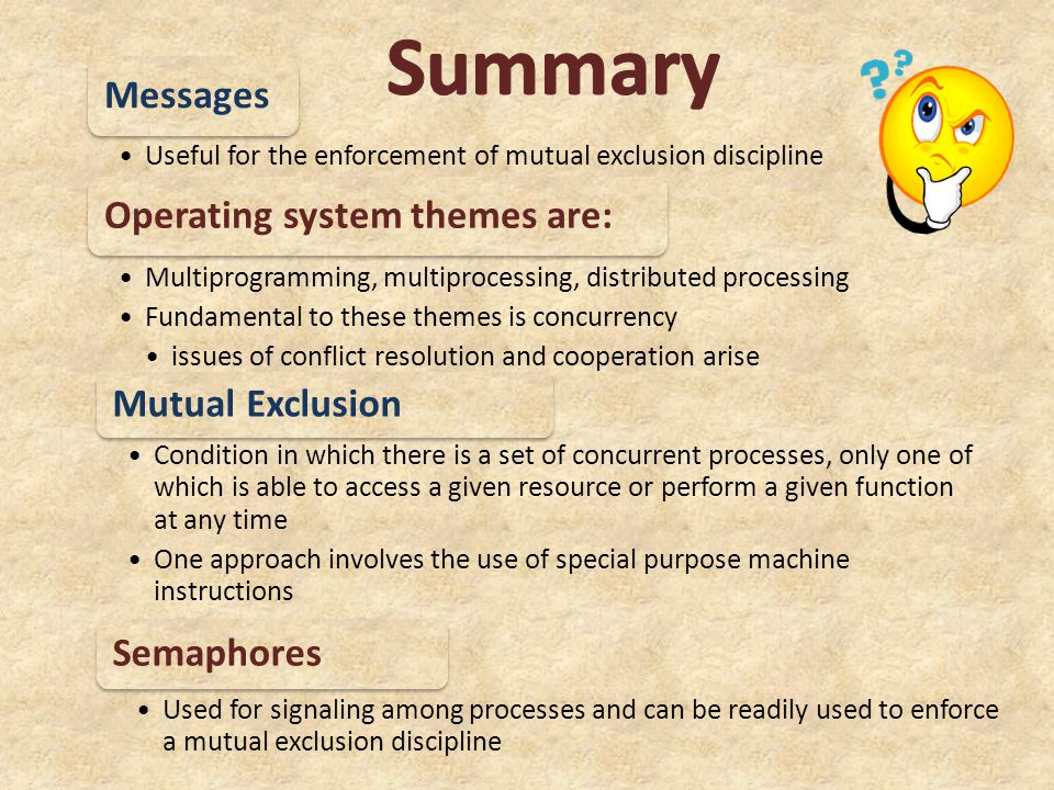 Summary Messages Operating system themes are: Mutual Exclusion