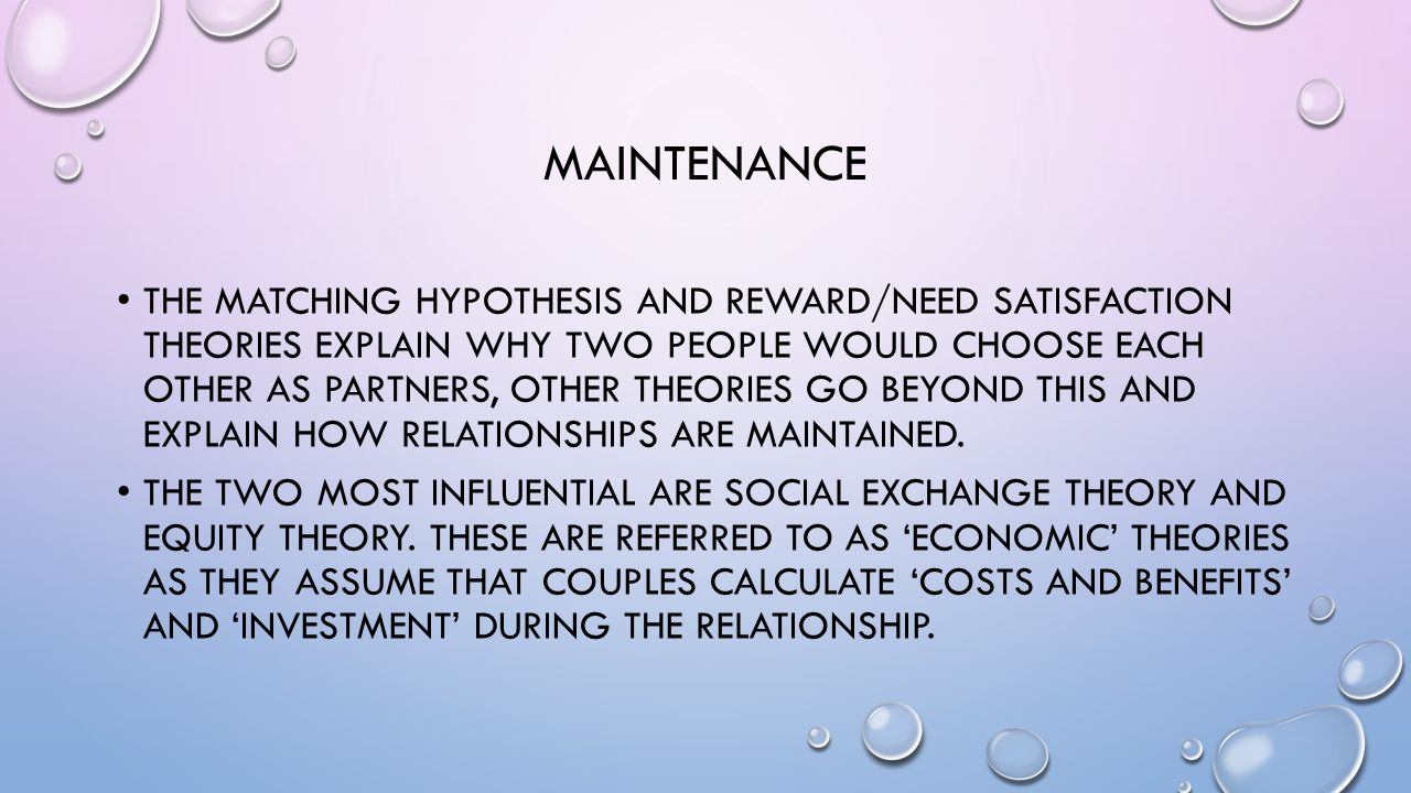 the matching hypothesis The matching hypothesis states that people have a tendency to choose partners whose level of attractiveness they believe to be equal to their own.