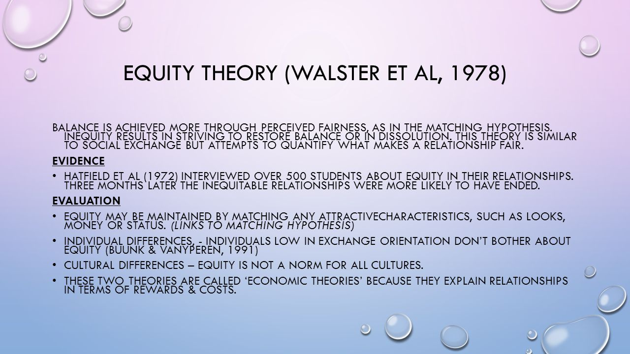 Equity theory (Walster et al, 1978)