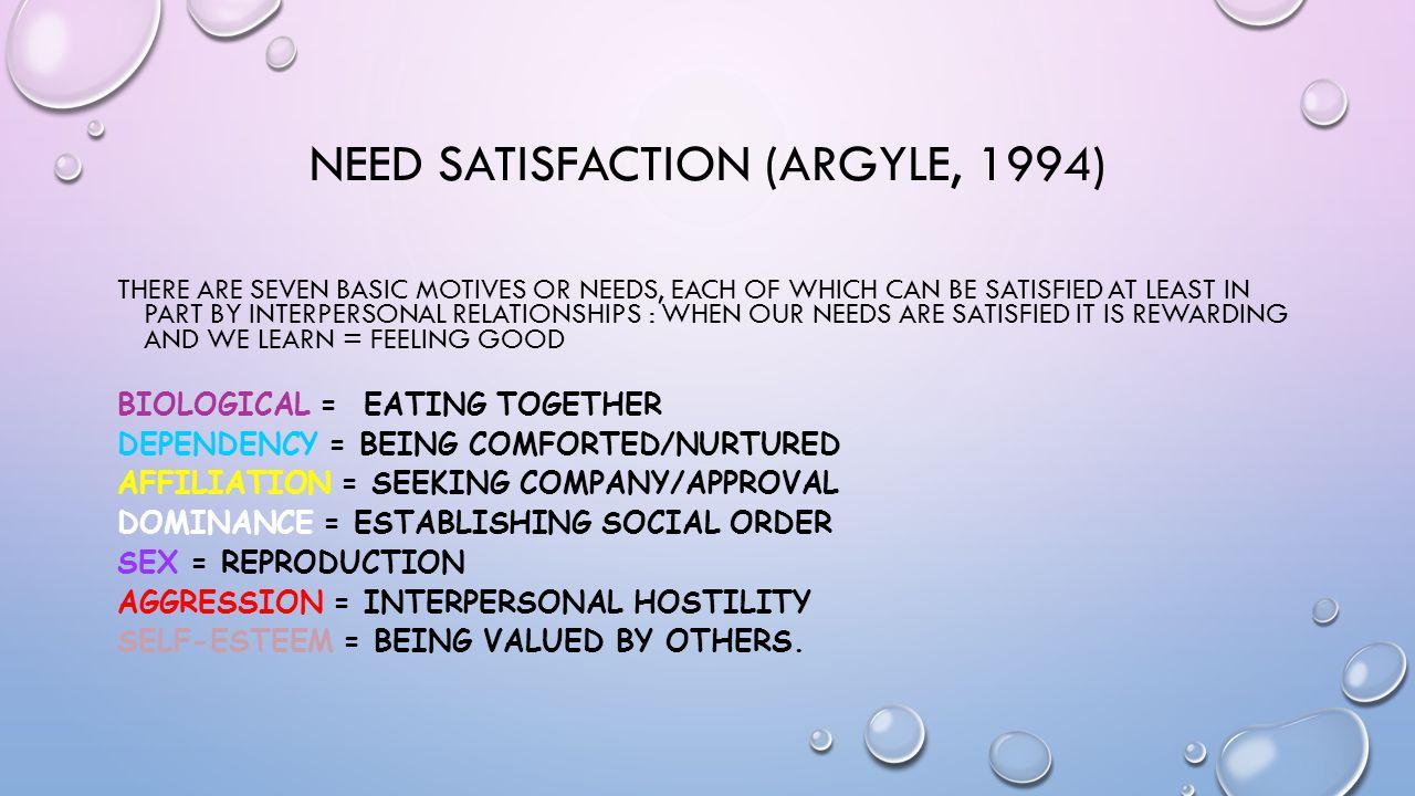 Need satisfaction (argyle, 1994)