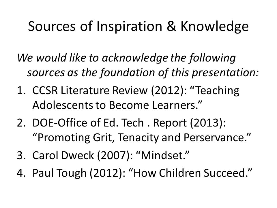 Sources of Inspiration & Knowledge