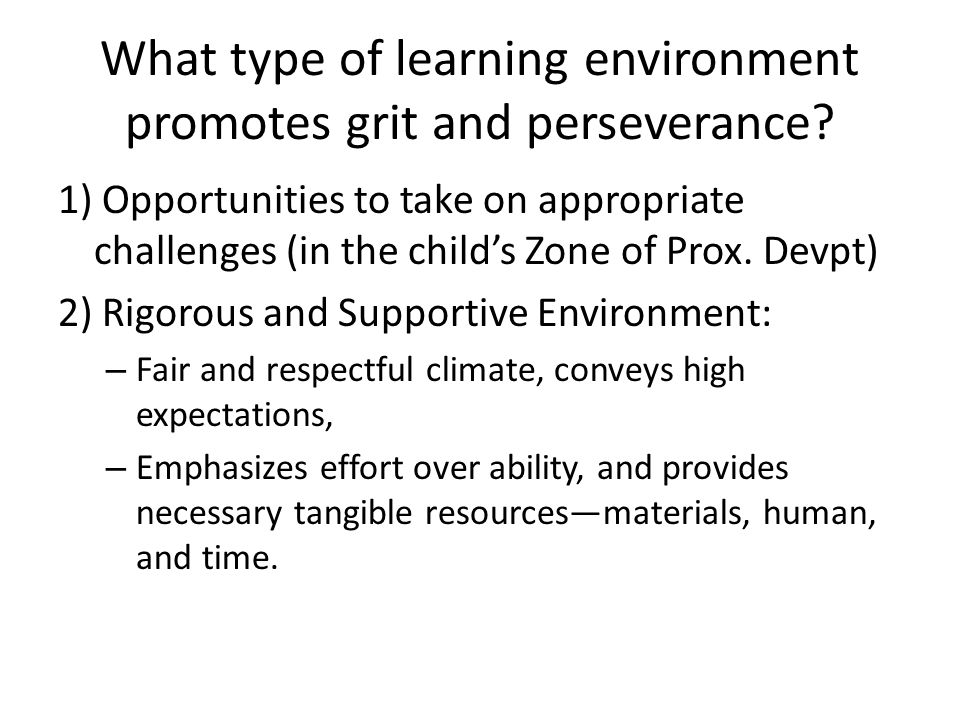 What type of learning environment promotes grit and perseverance