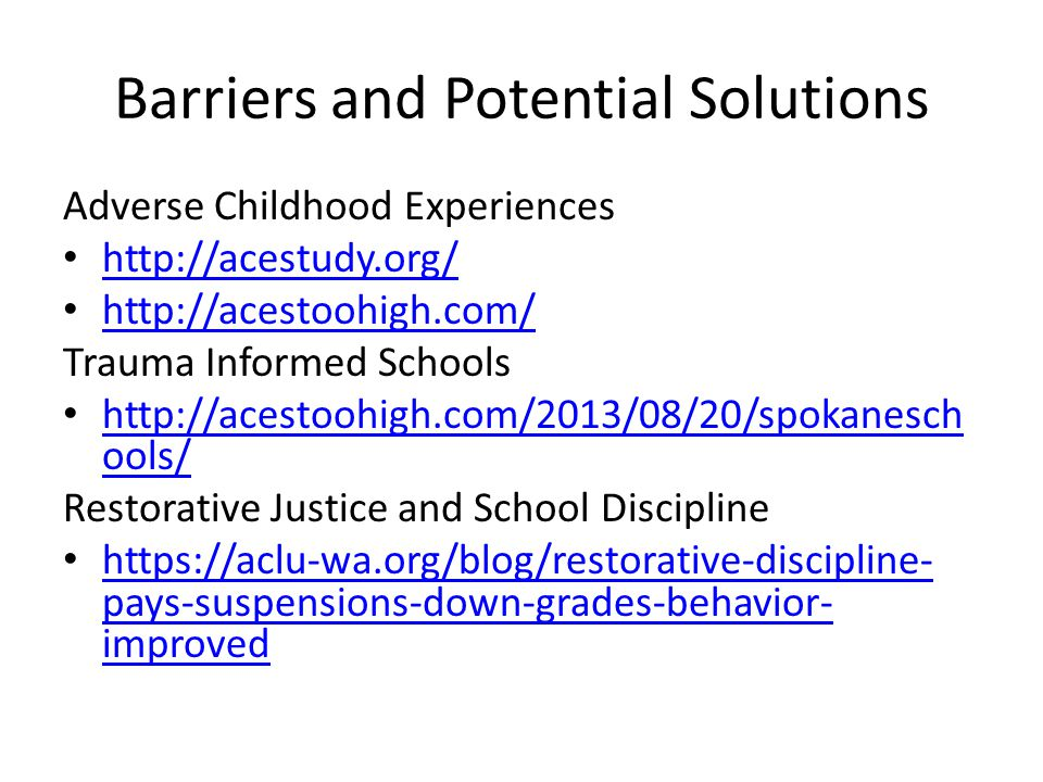 Barriers and Potential Solutions