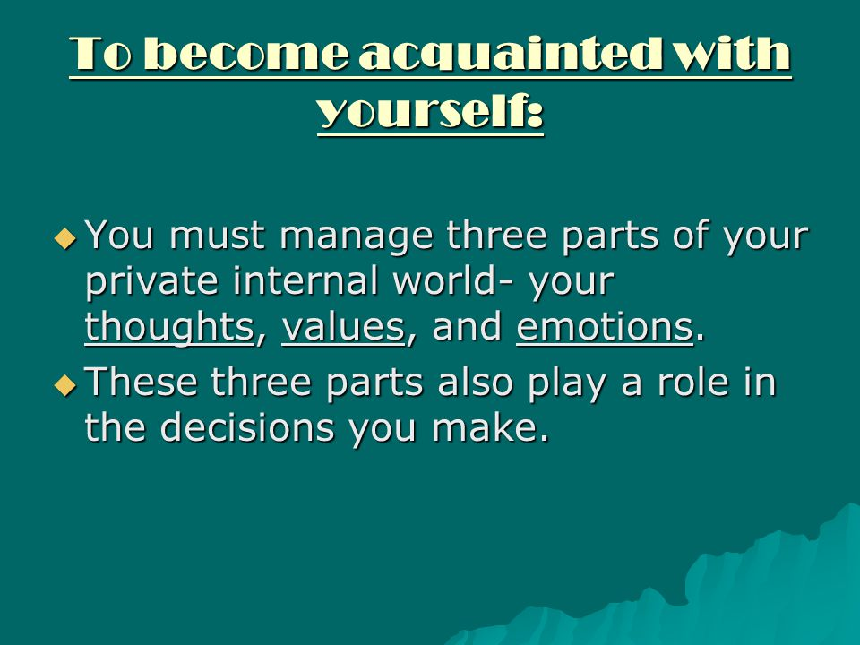 To become acquainted with yourself: