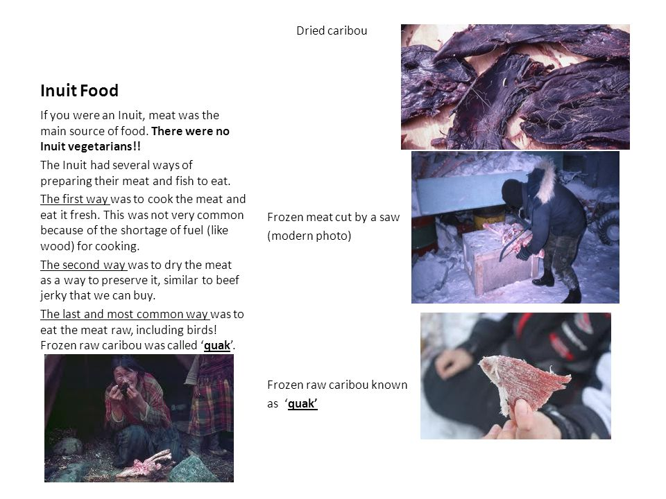 Inuit Food Dried caribou Frozen meat cut by a saw (modern photo) Frozen raw caribou known as 'quak'