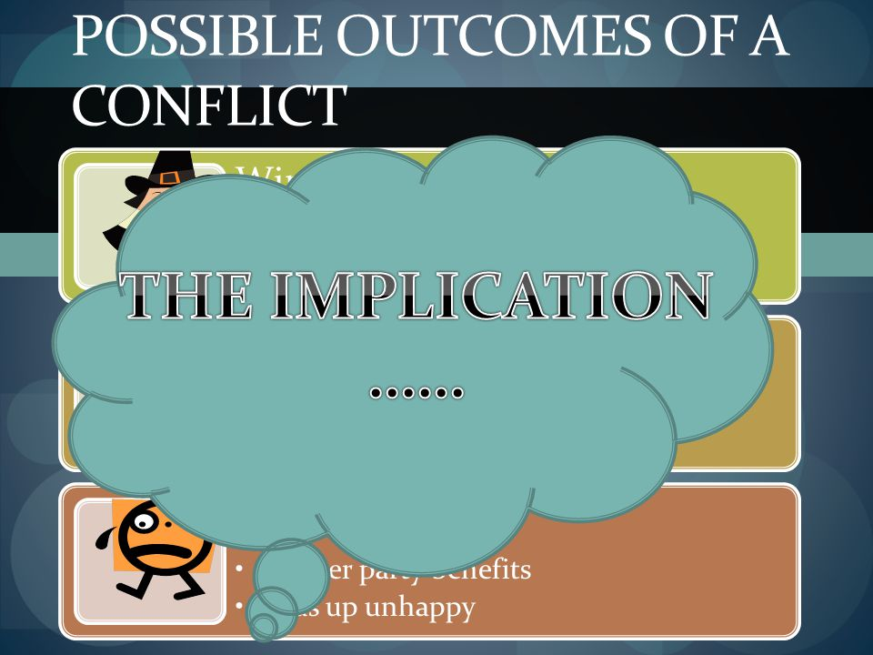 Possible outcomes of a conflict