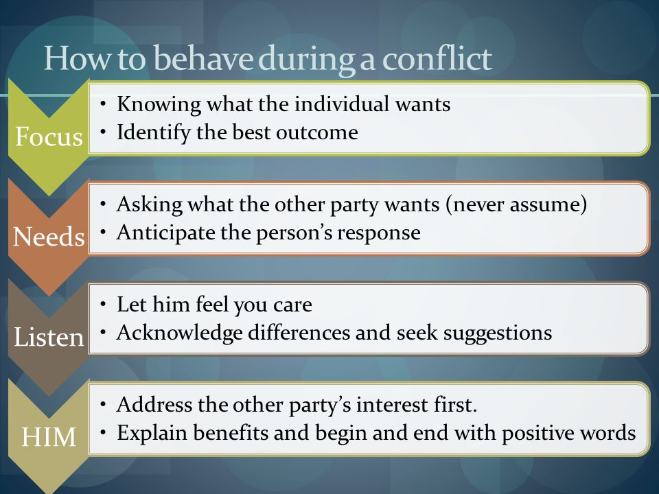 How to behave during a conflict
