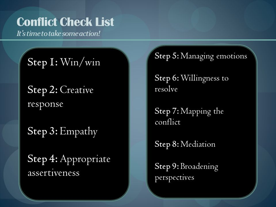 Conflict Check List It's time to take some action!
