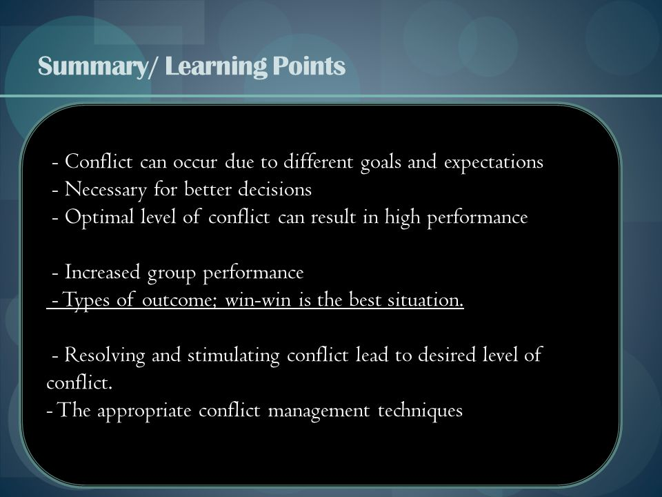 Summary/ Learning Points
