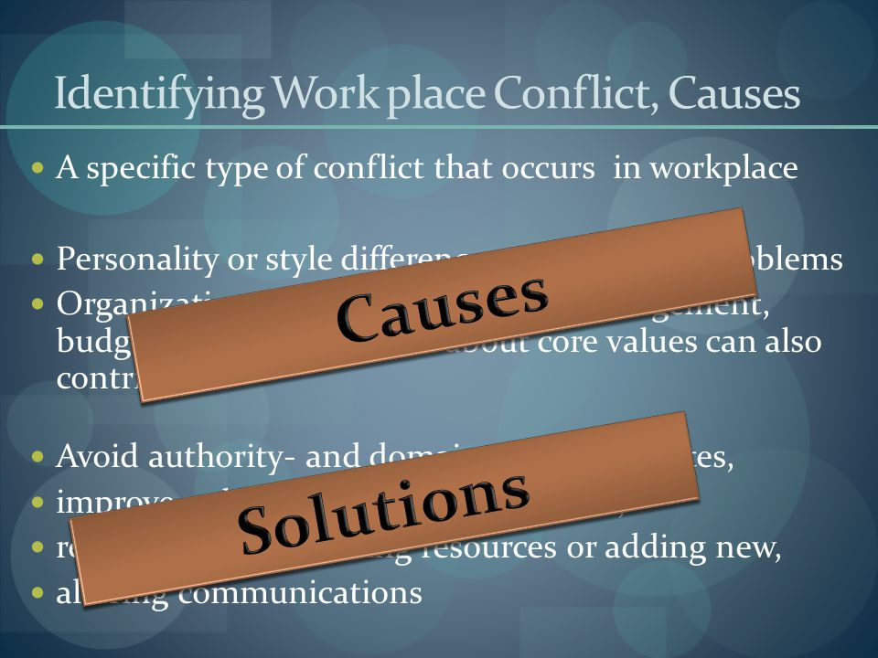 Identifying Work place Conflict, Causes