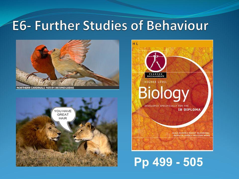 E6- Further Studies of Behaviour